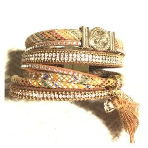Jewelry - Leather wrap bracelet with crystals